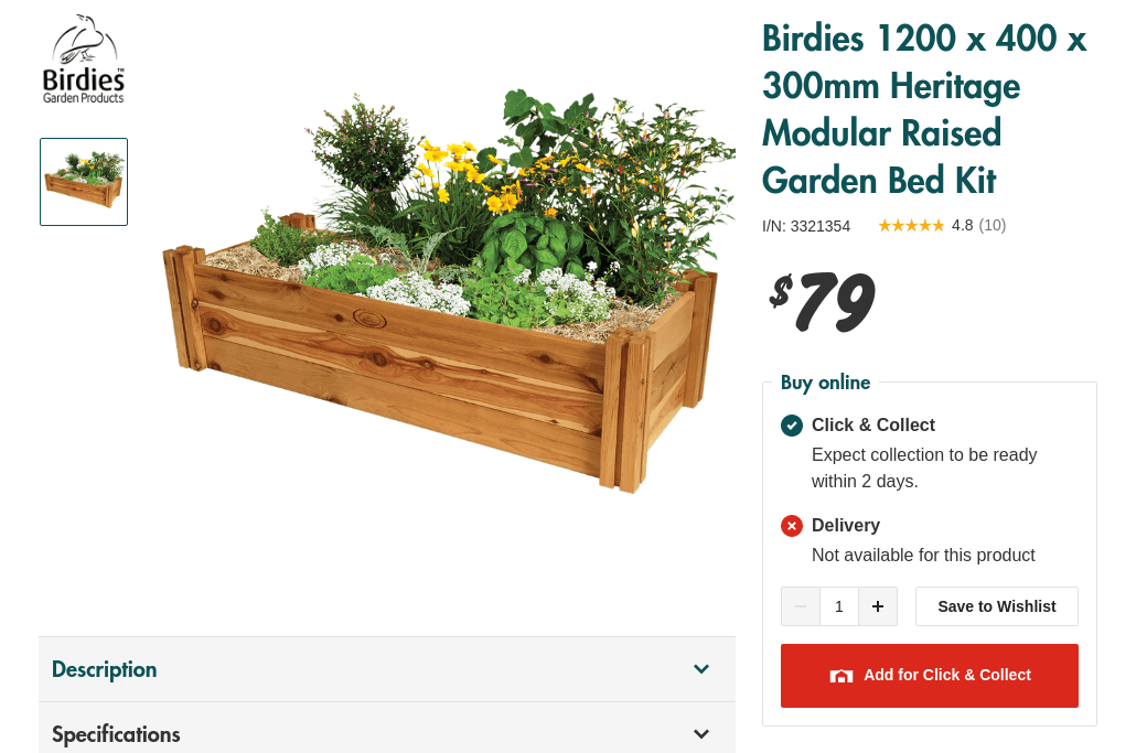 Screenshot of a Bunnings store page for the Birdies 1200 x 400 x 300mm Heritage Modular Raised Garden Bed Kit